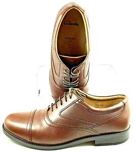 Clarks-Tristan-Oxford-Men-UK-Sz-10-US-10-5-Extra-Wide-Brown-Lace-Up-Cap-Toe-Shoe
