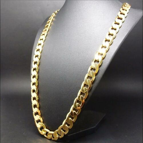 Mens-14K-Yellow-Gold-Plated-24-Inches-Cuban-Link-Chain-Necklace-10-mm