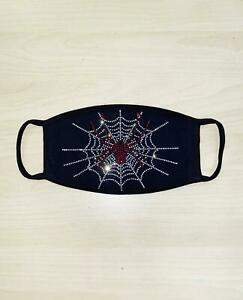 Face Mask Rhinestone Face Mask with Spider with Web, Cotton Blend, Made In USA