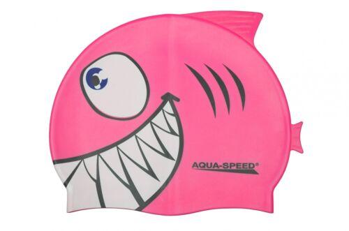 Kinder Aqua Speed® Shark Kinder Bademütze Hai Badekappe Badehaube Schwimmen bewährte Qualität!