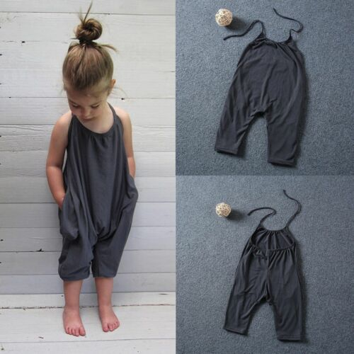 US Stock Toddler Kids Baby Girls Romper Jumpsuit Harem Pants Trousers Clothes