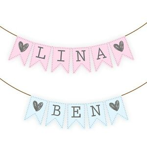 Details Zu Wimpelkette Baby Namen Girlande Individuell Babyparty Taufe Junge Mädchen Deko