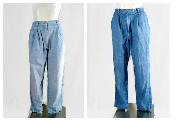 Talbots Women Pants Mom Jeans 90's 100% Cotton bluee Grunge Hipster Lot of 2