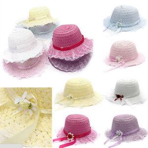 Les-filles-enfant-d-039-ete-plage-belle-casquette-enfants-fleurs-chapeau-de-paille-I