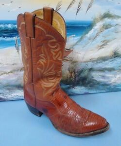 8bf703a787b Details about Justin Western Cowboy Boots Brown Leather Stitched Men's Size  10.5 D # 8382