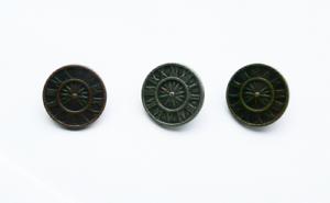 o in ottone colore NUOVO Pacco Di 5 Bottoni in Metallo Steampunk Taglia 36 rame argento