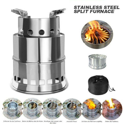 Portable Outdoor Stove Camping Cooking Picnic BBQ Steel Wood Cooker Gasifier UK