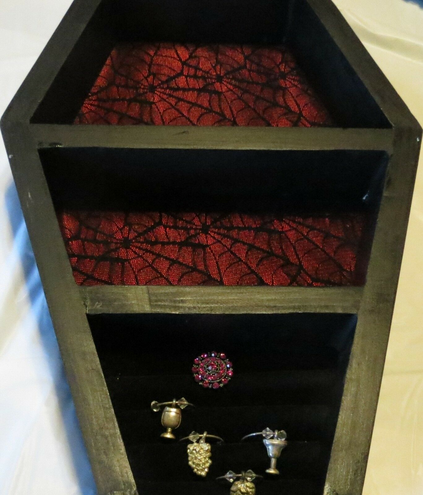 Coffin Jewelry box hanging wall Shelf Gothic Style 22-1 2 L x14-1 2 By Joanndles