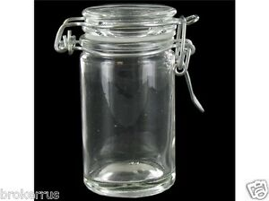 3 1 4 tall clear glass jar flip clamp lid wire bail top closure bale 1 3 cup ebay. Black Bedroom Furniture Sets. Home Design Ideas