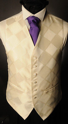 Cw14. Mens/boys Pale Gold Diamond Waistcoat / Dress/ Suit / Formal Kann Wiederholt Umgeformt Werden.