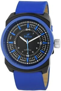 Time-Tech-Herrenuhr-Schwarz-Blau-Analog-Metall-Kunst-Leder-Quarz-X227473000010