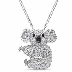 Amour Sterling Silver Created White Sapphire Black Spinel Koala Necklace