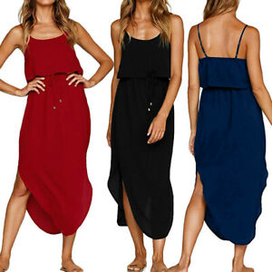 53c36102dd773 Image is loading Womens-Holiday-Strappy-Midi-Dress-Chiffon-Summer-Beach-