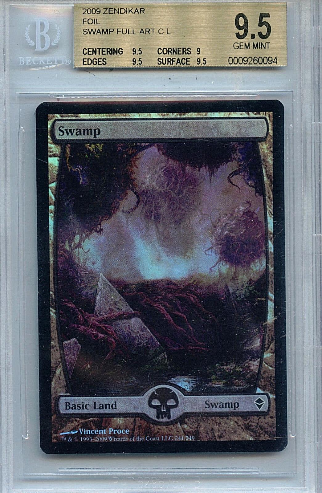 MTG MTG MTG Swamp BGS 9.5 Gem Mint Zendikar Foil Full Art Card Amricons 0064 27f756