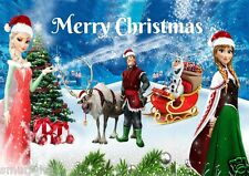 DISNEY FROZEN CHRISTMAS ELSA ANNA OLAF CAKE TOPPER EDIBLE ICING SUGAR A4 Xmas