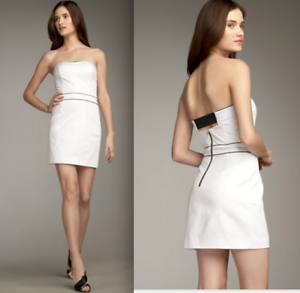 2b. Rych Optic Weiß Contrast Piping Cut Out Back Strapless Dress