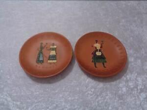 2-x-Hungary-Artist-Ceramics-Design-Wall-Plate-Vintage-around-1950-60-Hungary