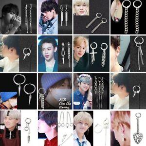 Punk-Korean-Style-Tassels-Earrings-Boys-Womens-Men-039-s-Ear-Stud-Ring-Dangle-Chain