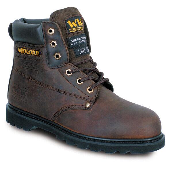 Goodyear Welted mundo Madera Impermeable Cuero Marrón botas De Seguridad Puntera De Acero