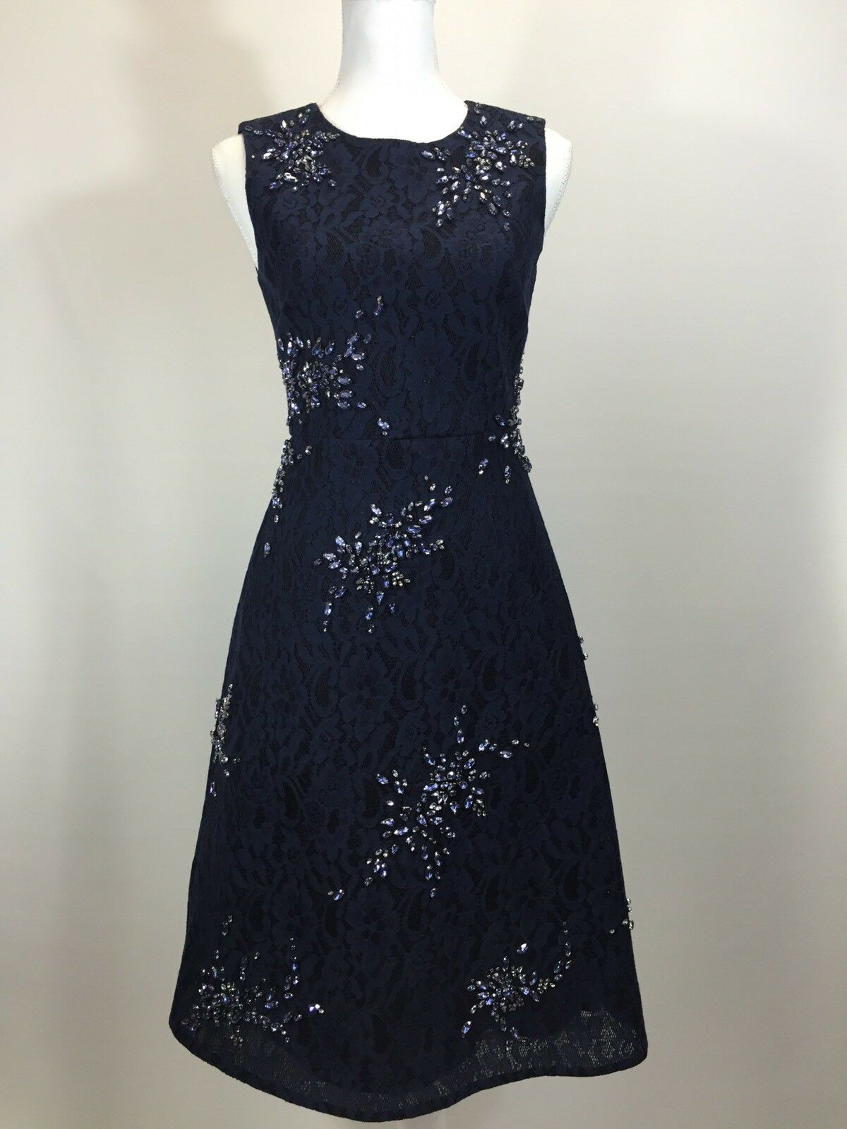 J.CREW COLLECTION  ADELE JEWELED LACE DRESS 0 00 NAVY WEDDING FORMAL SAMPLE
