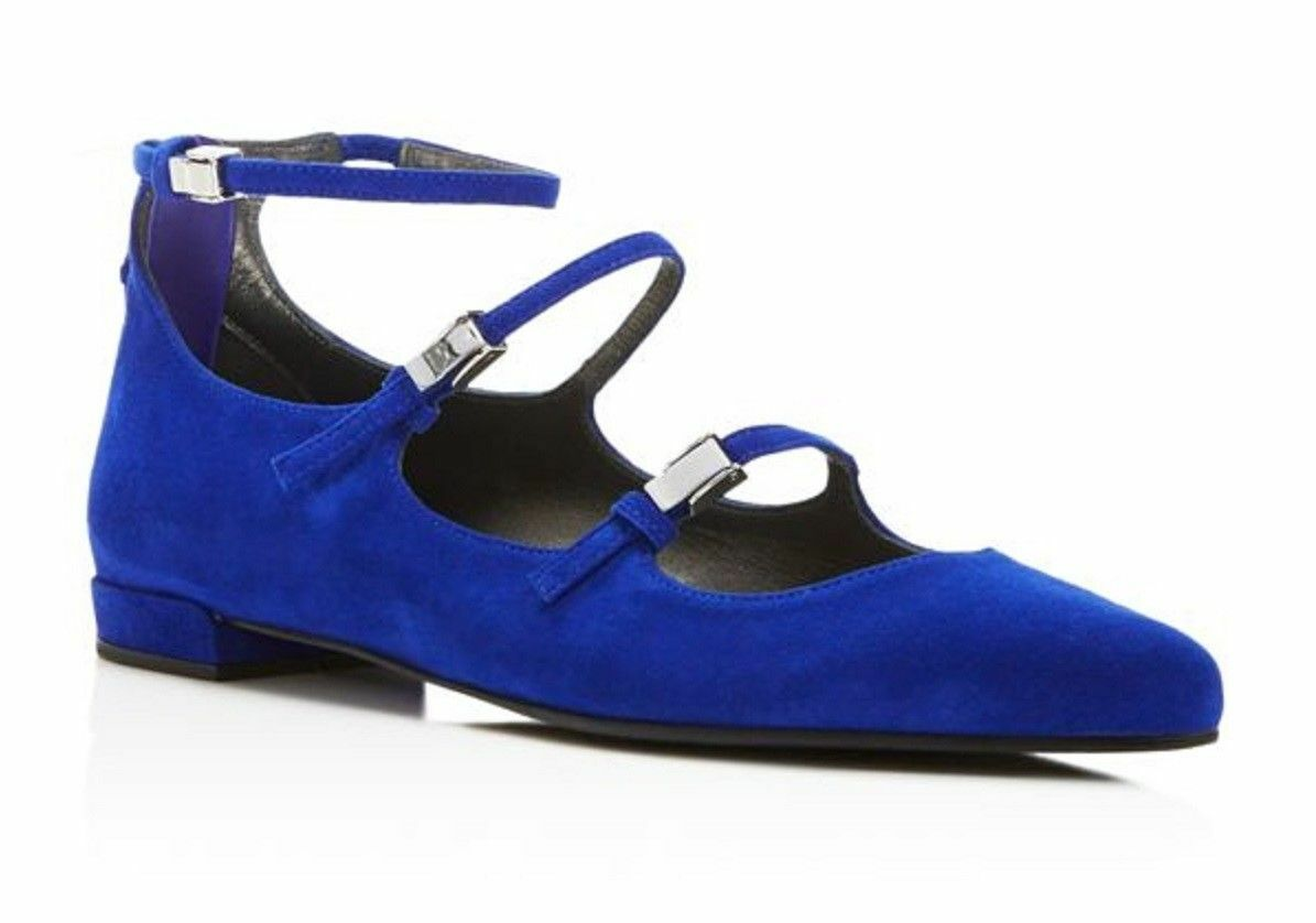 presa di marca New New New  398 Stuart Weitzman Flippy Electric Suede blu Ballet Flats scarpe Dimensione 6 M  sconto online