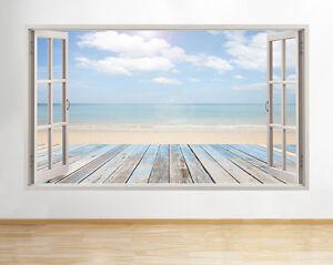 A198-Mar-Ocean-Sand-Beach-Paradise-Tat-pegatina-pared-vinilo-3d-habitacion-ninos