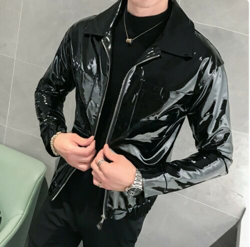 Mens Jacket Faux Patent leather Motorcycle Outwear Long sleeve Glossy Leisure L