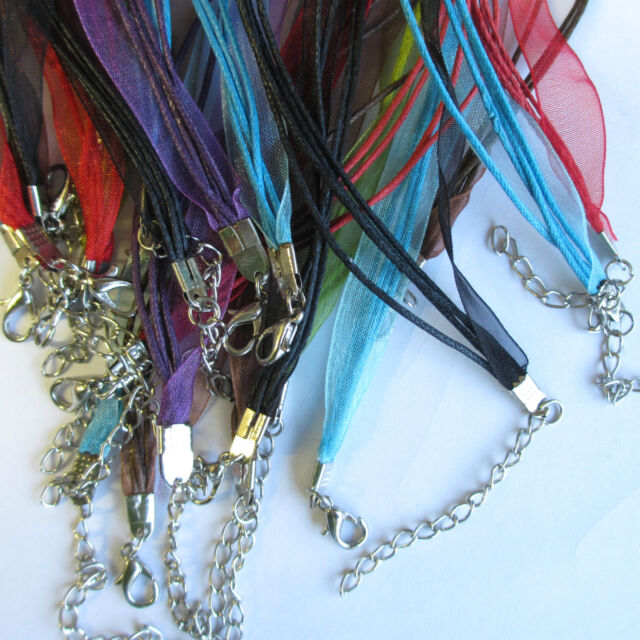 """30 Lobster Clasp Organza Ribbon Waxed Cord String Necklaces 18.5"""" Mixed Colours"""