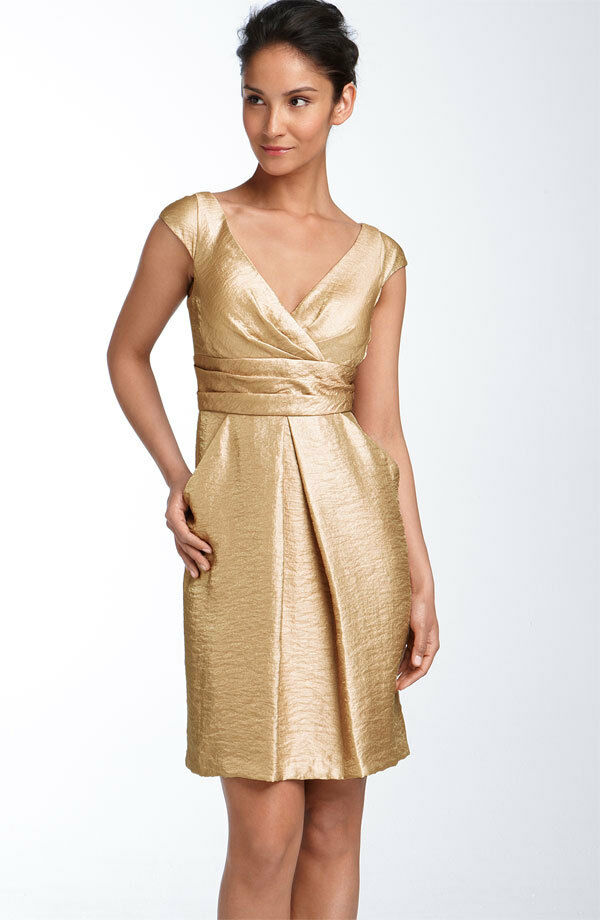 NEW NEW KAY UNGER  Ingreened Pleat Hammered Satin DRESS  SIZE 2 gold