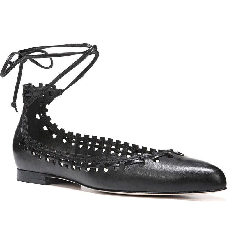 $195 size 6.5 Via Spiga Sammy Black Leather Ballet Flat Ankle Strap Womens Shoes