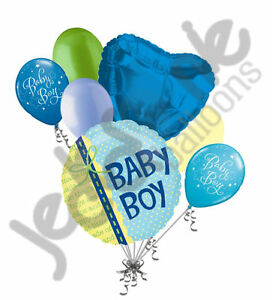 7 Pc Baby Boy Ribbon Balloon Bouquet Party Decoration Welcome Home