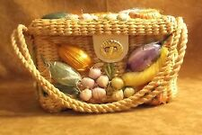 Vintage Souvenir Kitsch Purse Straw with applied Fruits Made in the Phillipines