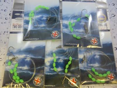3 X 2 HOOK LUMI BOOM RIG Sz 4 FLATTIE DAB PLAICE SEA BOAT BEACH ROCK FISHING