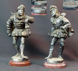 100% De Qualité B 1890 Superbe Paire Statues Bronze Raphael Sculpture Mousquetaires 28c5.8kg Haut Niveau De Qualité Et D'HygièNe