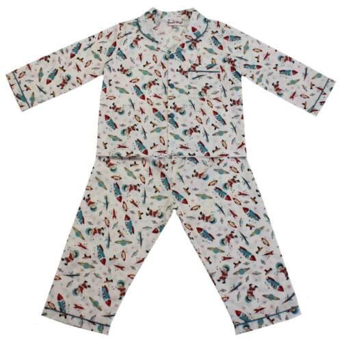 Boys Powell Craft Vintage Hugo Rocket Space Traditional Cotton Pyjamas