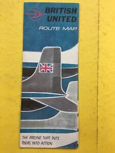 British United Airlines - BUA - Route Map - Foldout map