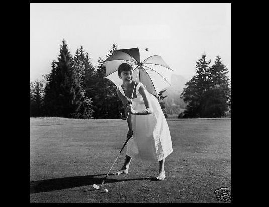 AUDREY HEPBURN PHOTO playing on golf course PHOTOGRAPH