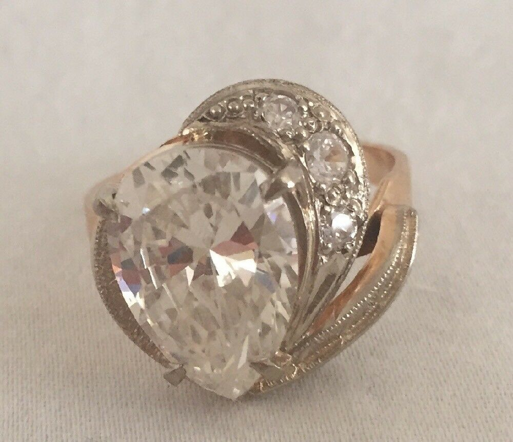 VINTAGE 14k AND ZIRCONIA RING Size 8