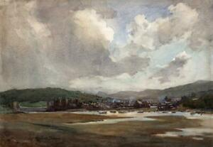 HENRY-RAEBURN-DOBSON-1901-1985-Watercolour-Painting-CONWY-FROM-DEGANWY-WALES