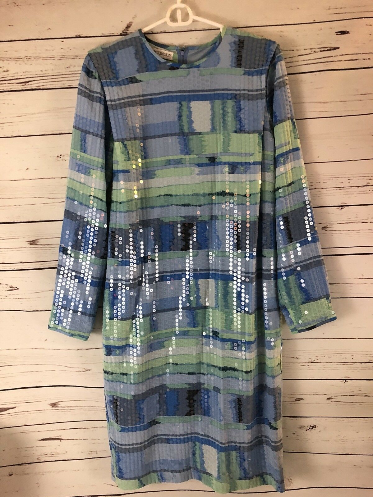 Anne Crimmins UMI Vtg  Clear Sequins Blau Abstract Spring Party Trophy Dress 8