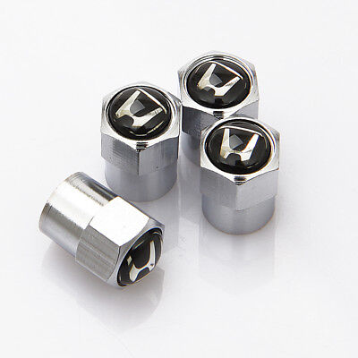 4 x Silver Chrome Tyre Valve Dust Caps WHITE Fits HONDA