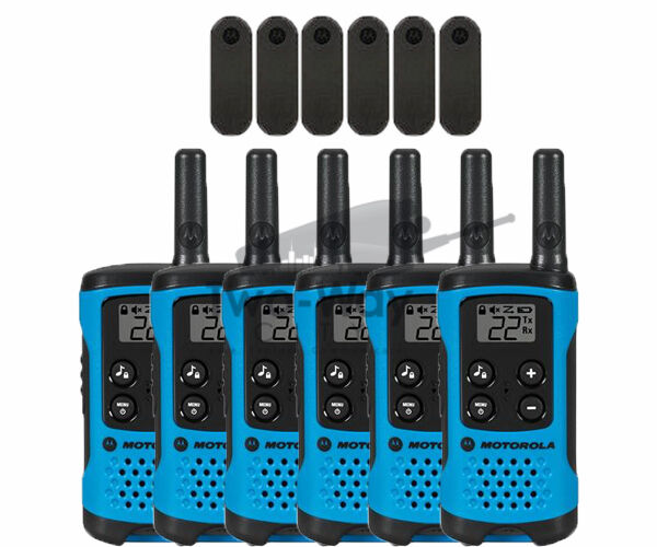 Motorola Talkabout T100TP Walkie Talkie 6 Pack Set Two Way Radios Blue Brand New
