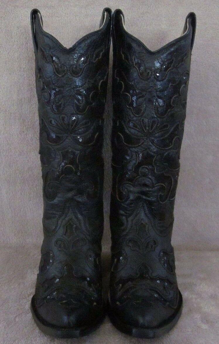 CORRAL A1070 Black Goat Leather Sequence Inlay Womens Boots shoes shoes shoes US 6.5 M NWB 5a8815