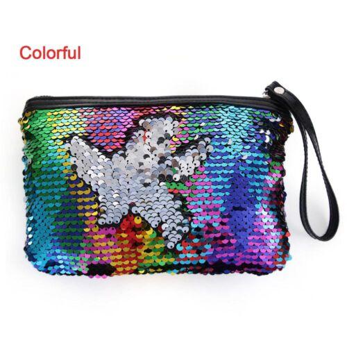 Women Girls Make-up Sequins Mermaid Glitter Handbag Evening Clutch Bag Wallet