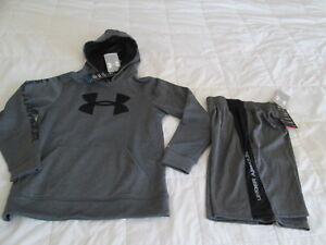 b0b10a3f1 NEW Boys UNDER ARMOUR 2Pc Outfit Gray w/ Big UA Logo Hoodie+Shorts ...