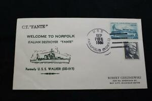 Navale-Cover-1980-Nave-Annullo-Postale-Welcome-Norfolk-Italiano-Destroyer-Fante