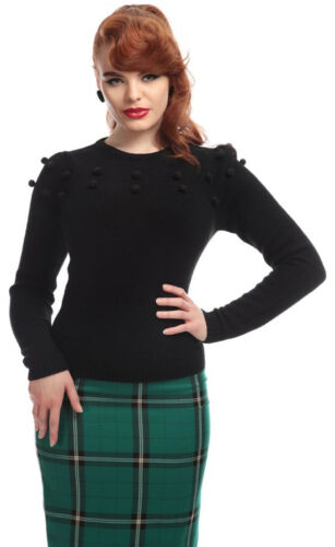 Collectif Barbara VINTAGE Pom Pom Jumper Pullover Rockabilly