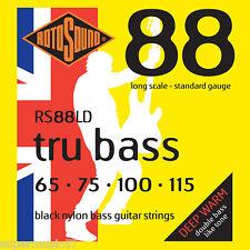 Rotosound RS88LD Black Nylon Tru Bass Guitar Strings - Flatwound 65-115 Gauge