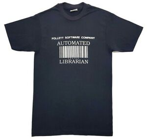 Vintage-Automated-Librarian-Barcode-Tee-Black-Size-M-Single-Stitch-T-Shirt