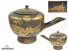 Large Japanese Meiji / Edo Tokugawa Taka Maki-e Gold Lacquer on Wood Teapot